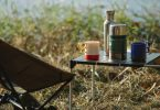 Camping seat table drink